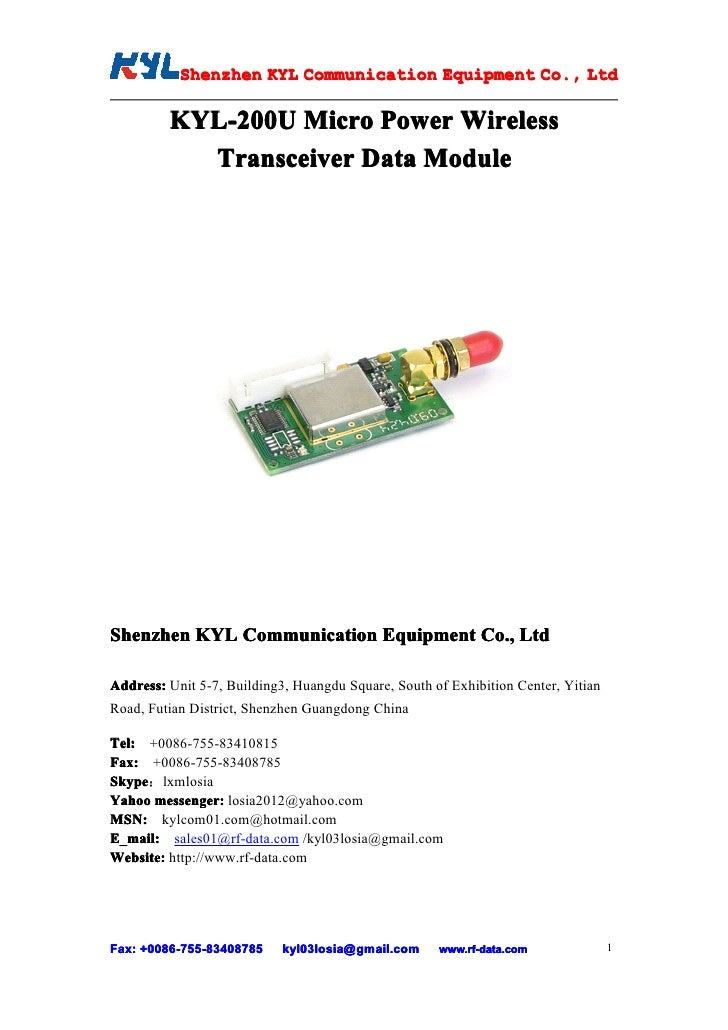 Shenzhen KYL Communication Equipment Co., Ltd            Shenz                                Co.           KYL-200U Micro...