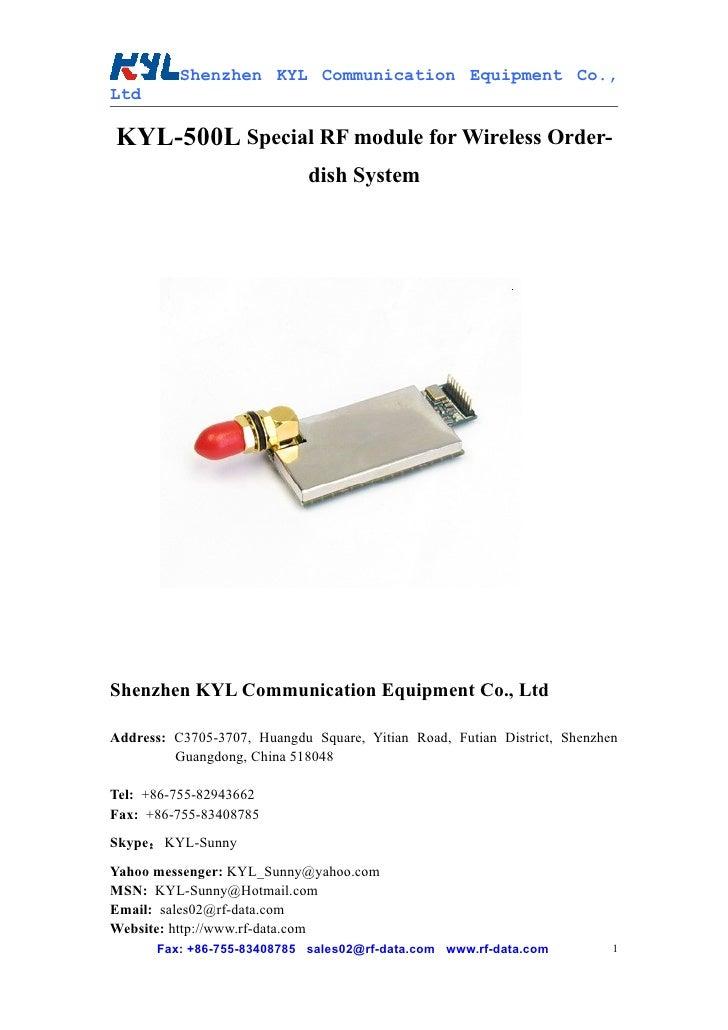 Shenzhen KYL Communication Equipment Co., Ltd  KYL-500L Special RF module for Wireless Order-                             ...