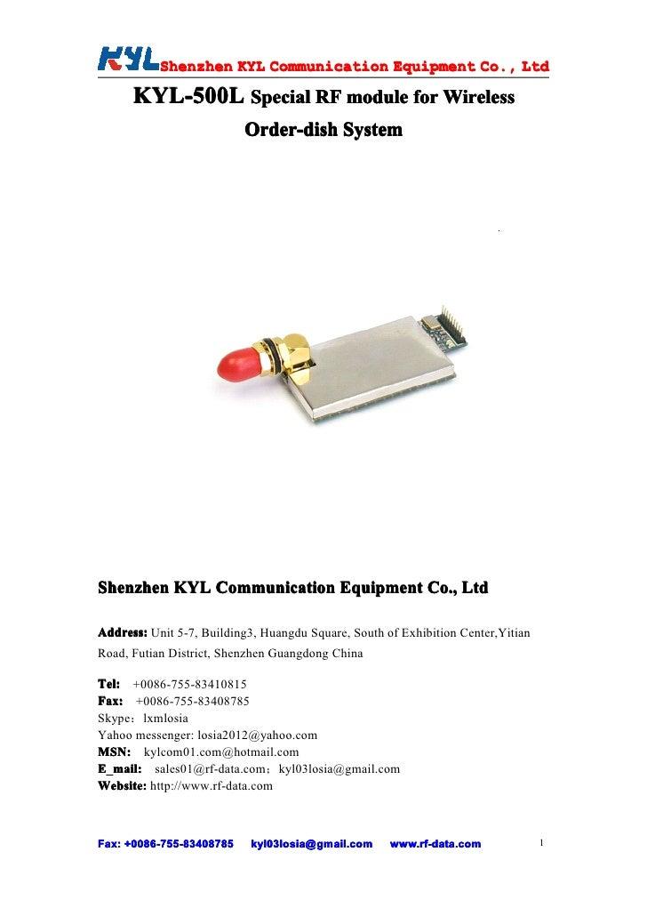 Shenzhen KYL Communication Equipment Co., Ltd            Shenz                                Co.        KYL-500L Special ...