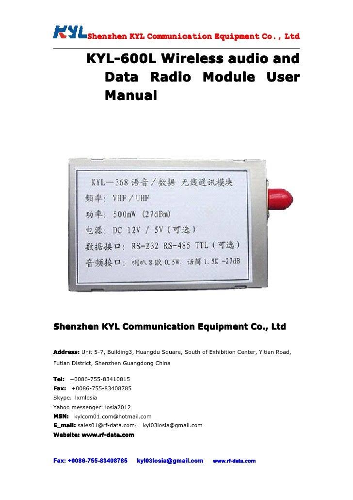 Shenzhen KYL Communication Equipment Co., Ltd             Shenz                                Co.             KYL-600L Wi...