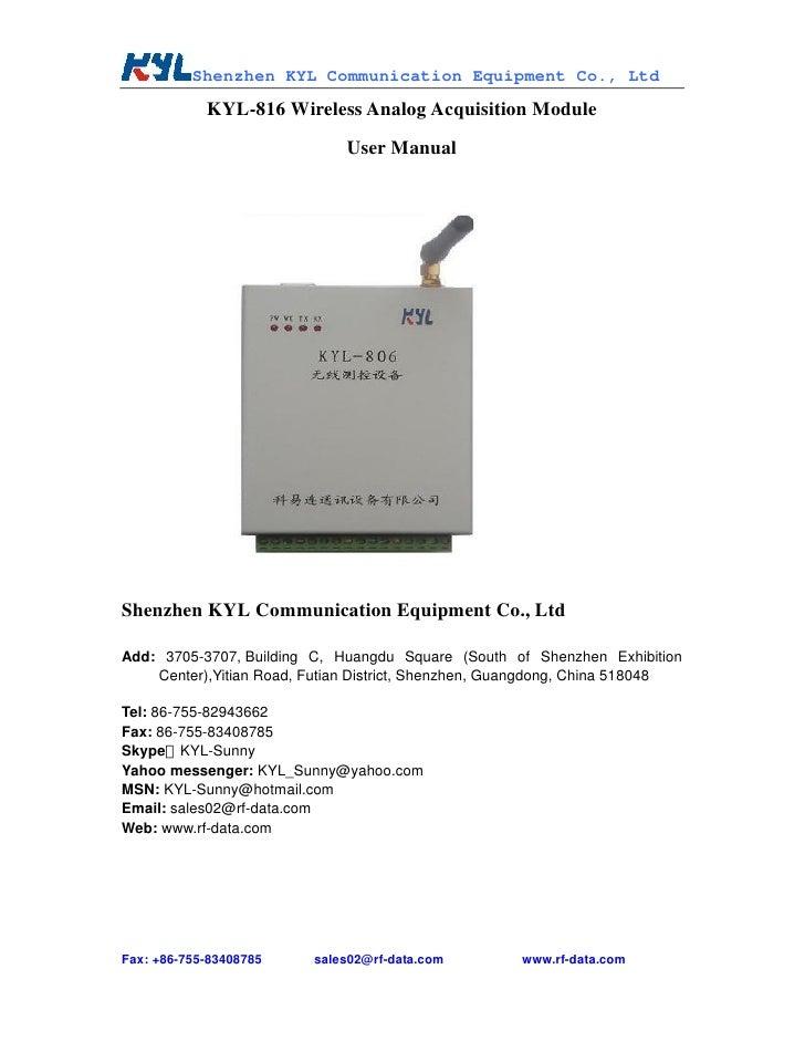 Shenzhen KYL Communication Equipment Co., Ltd             KYL-816 Wireless Analog Acquisition Module                      ...