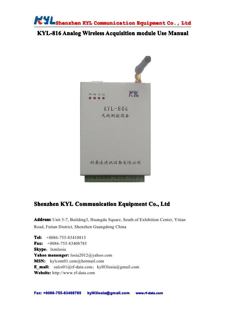 Shenzhen KYL Communication Equipment Co., Ltd            Shenz                                Co.  KYL-816 Analog Wireless...