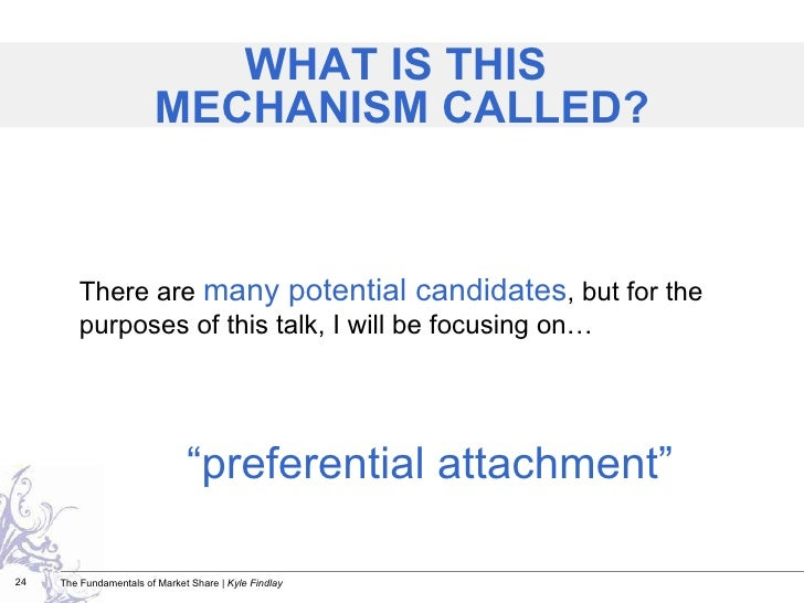 """<ul><li>"""" preferential attachment"""" </li></ul>There are  many potential candidates , but for the purposes of this talk, I w..."""