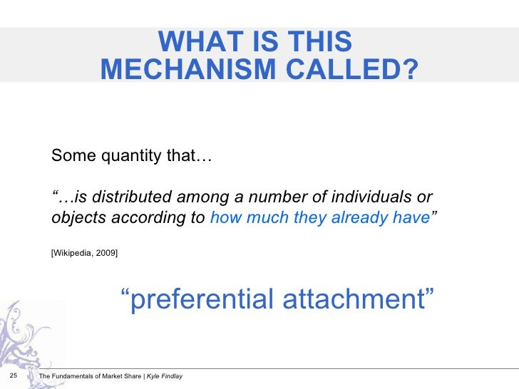 """<ul><li>"""" preferential attachment"""" </li></ul>Some quantity that…  """"… is distributed among a number of individuals or objec..."""