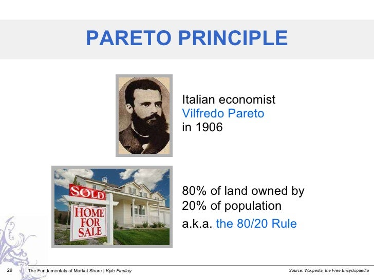 <ul><li>Italian economist  Vilfredo Pareto   in 1906 </li></ul>PARETO PRINCIPLE 80% of land owned by  20% of population a....