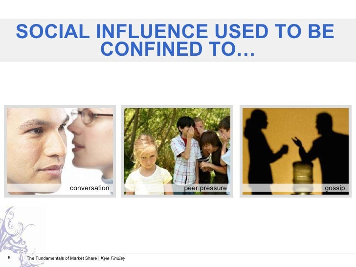 SOCIAL INFLUENCE USED TO BE  CONFINED TO… conversation peer pressure gossip