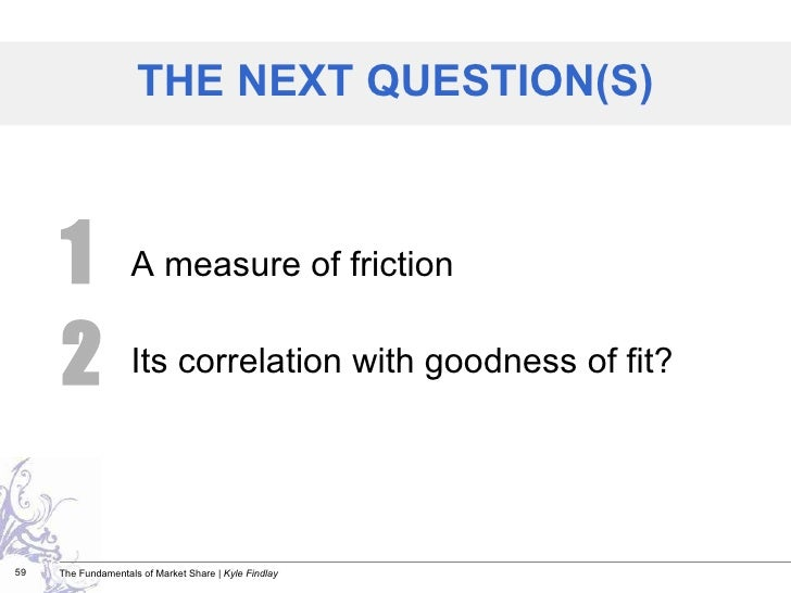 <ul><li>A measure of friction </li></ul><ul><li>Its correlation with goodness of fit? </li></ul>THE NEXT QUESTION(S) 1 2