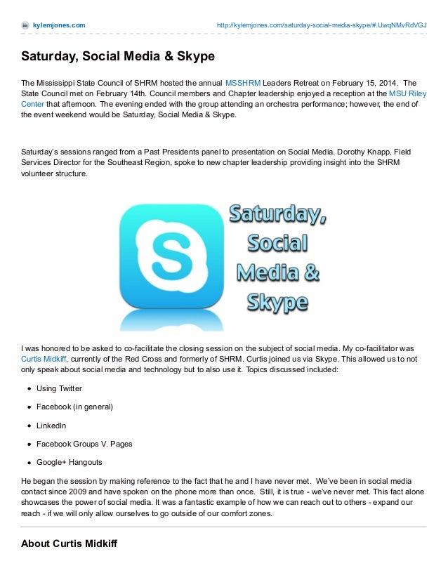 kylemjones.com  http://kylemjones.com/saturday-social-media-skype/#.UwqNMvRdVGJ  Saturday, Social Media & Skype The Missis...