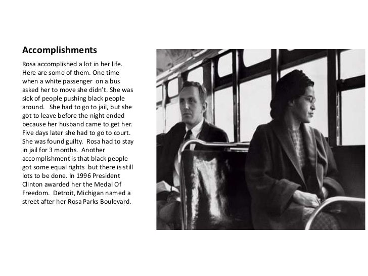 account of the life and accomplishments of rosa parks King's rousing speech at the meeting was a catalyst for his future fame and achievements parks had entire life and didn 5 facts about rosa parks.