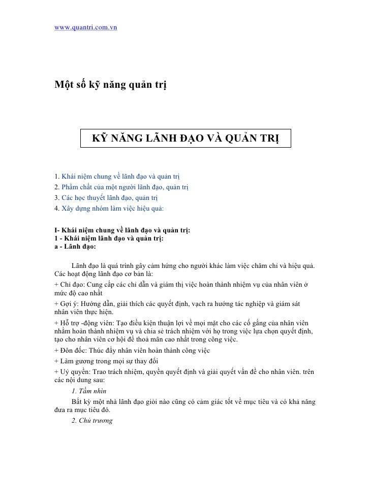 www.quantri.com.vn     Một số kỹ năng quản trị                KỸ NĂNG LÃNH ĐẠO VÀ QUẢN TRỊ   1. Khái niệm chung về lãnh đạ...