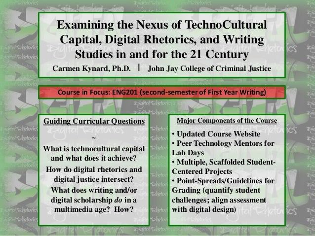 Examining the Nexus of TechnoCultural Capital, Digital Rhetorics, and Writing Studies in and for the 21 Century Carmen Kyn...