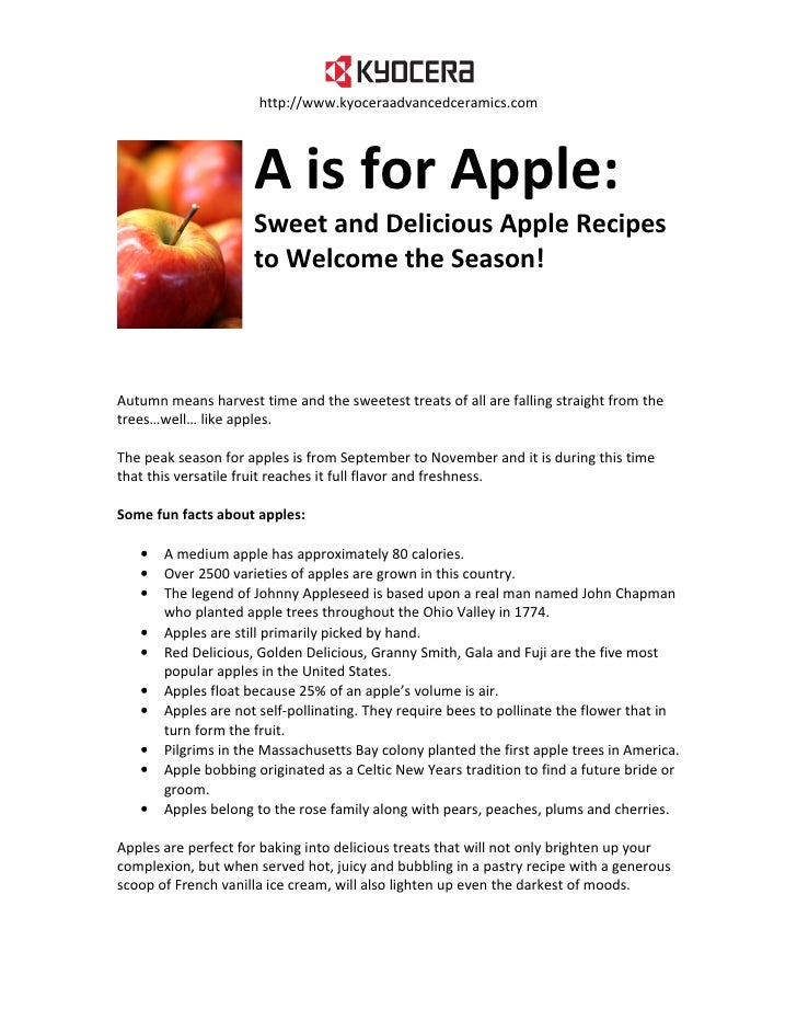 http://www.kyoceraadvancedceramics.com                          A is for Apple:                      Sweet and Delicious A...