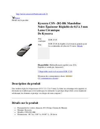 Mandoline noire reglable lame céramique Kyocera