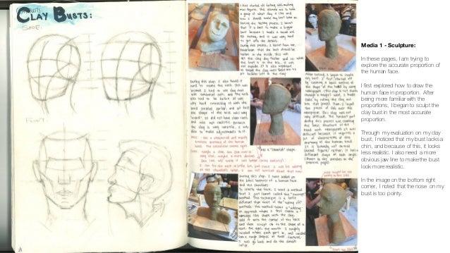 Media 1 - Sculpture: In these pages, I am trying to explore the accurate proportion of the human face. I first explored ho...