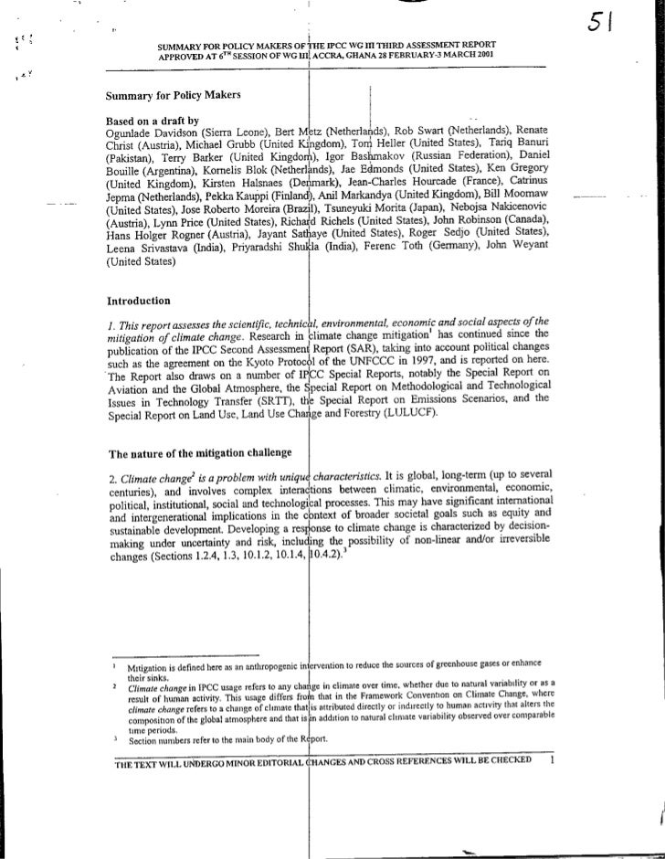 5'                 SUMMARY FOR POLICY MAKERS OF THE IflCC WO III THIRD ASSESSMENT REPORT                 APPROVED AT 6TH S...