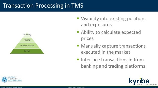 © 2016 Kyriba Corp. All rights reserved. PROPRIETARY & CONFIDENTIAL. 10 Transaction Processing in TMS  Visibility into ex...