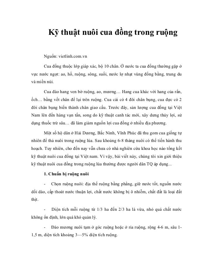 Kỹ thuật nuôi cua đồng trong ruộng        Nguồn: vietlinh.com.vn        Cua đồng thuộc lớp giáp xác, bộ 10 chân. Ở nước ta...