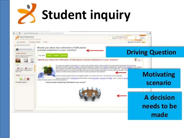 Student inquiry  Driving Question  Motivating  scenario  A decision  needs to be  made
