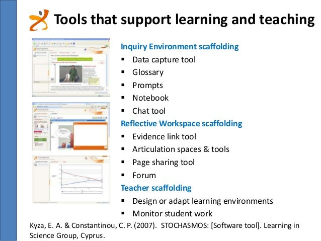Tools that support learning and teaching  Inquiry Environment scaffolding   Data capture tool   Glossary   Prompts   N...