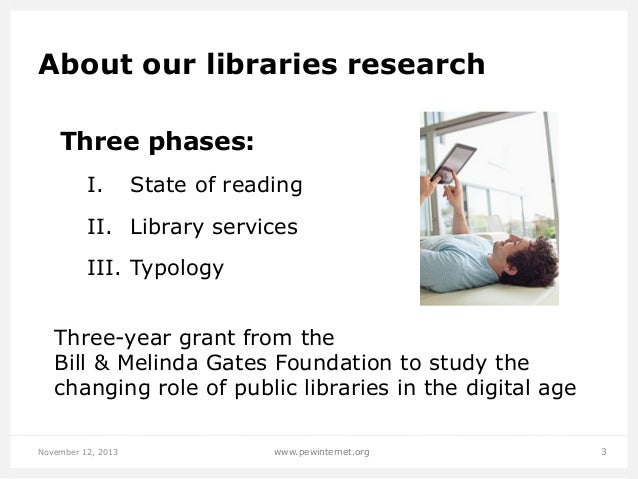 About our libraries research Three phases: I.  State of reading  II. Library services III. Typology Three-year grant fr...
