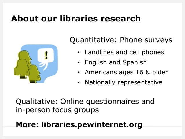 About our libraries research Quantitative: Phone surveys • Landlines and cell phones • English and Spanish • Americans ...