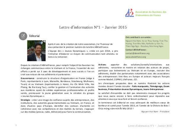 Association du Business des Vietnamiens de France Lettre d'information NLettre d'information NLettre d'information NLettre...