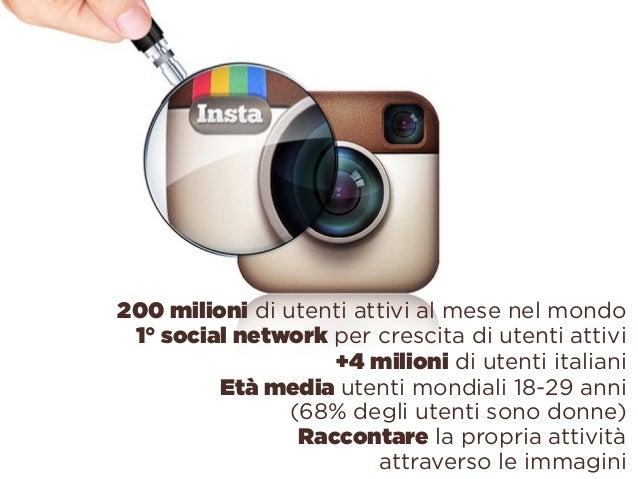 200 milioni di utenti attivi al mese nel mondo 1° social network per crescita di utenti attivi +4 milioni di utenti itali...