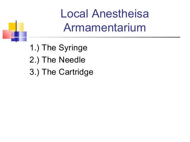 Local Anestheisa Armamentarium 1.) The Syringe 2.) The Needle 3.) The Cartridge