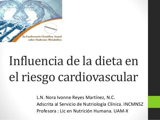 Influencia de la dieta en el riesgo cardiovascular L.N. Nora Ivonne Reyes Martínez, N.C. Adscrita al Servicio de Nutriolog...