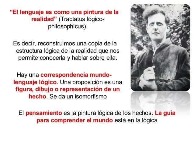 """""""El lenguaje es como una pintura de la realidad"""" (Tractatus lógico- philosophicus) Es decir, reconstruimos una copia de la..."""