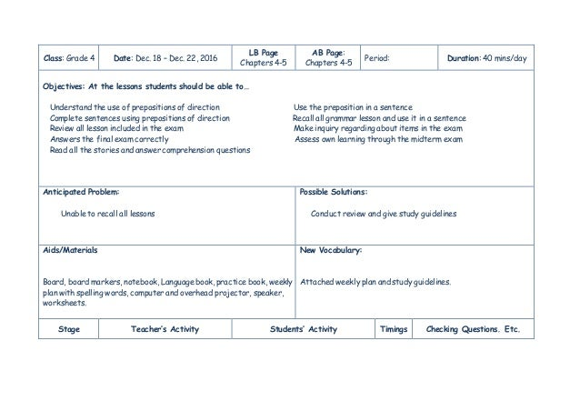 Learning Plan Grammar Prepositions Listening Reading And Writing