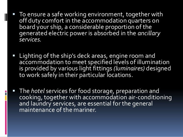 L 1 ancillary electrical services ships lighting and