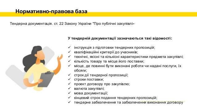 Нормативно-правова база Тендерна документація. ст. 22 Закону України