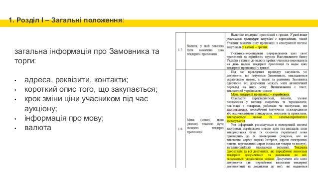 1. Розділ I – Загальні положення: загальна інформація про Замовника та торги: • адреса, реквізити, контакти; • короткий оп...
