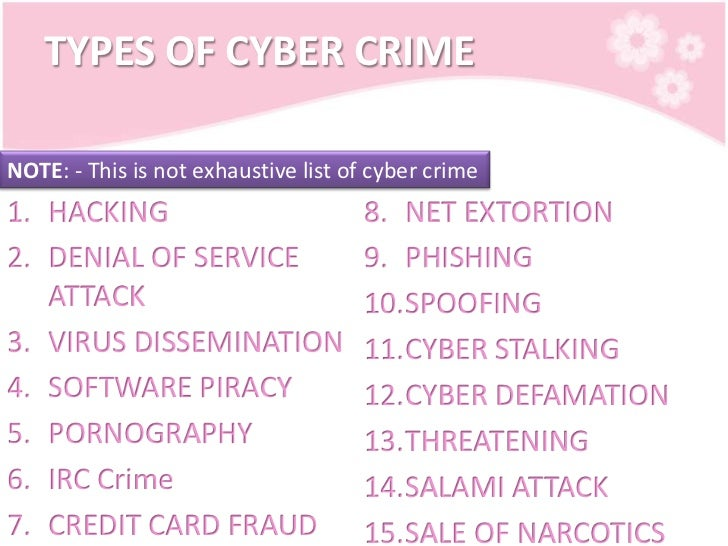 Legal (Types of Cyber Crime)