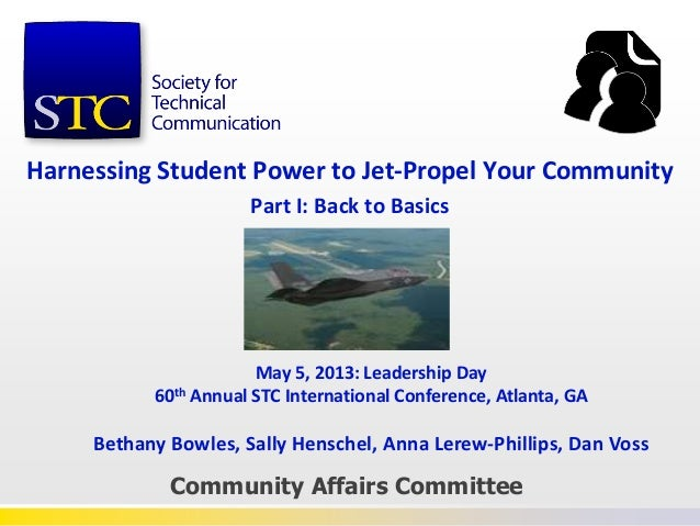 Harnessing Student Power to Jet-Propel Your CommunityPart I: Back to BasicsCommunity Affairs CommitteeMay 5, 2013: Leaders...
