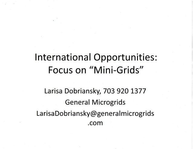 International Focus on Microgrids