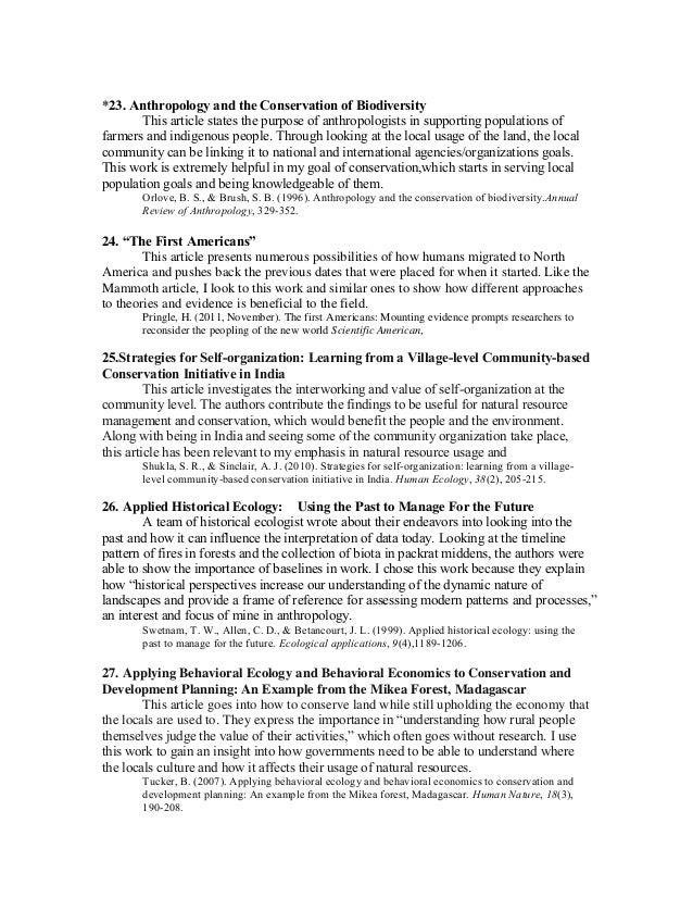 Anthropology bibliography