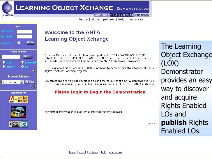 The Learning Object Exchange (LOX) Demonstrator provides an easy way to discover and acquire Rights Enabled LOs and  publi...