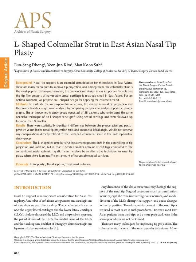 Original Article  L-Shaped Columellar Strut in East Asian Nasal Tip Plasty Eun-Sang Dhong1, Yeon-Jun Kim1, Man Koon Suh2 1...