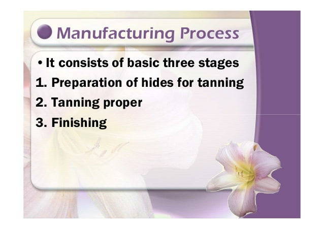 Manufacturing Process •It consists of basic three stages 1. Preparation of hides for tanning 2. Tanning proper 3. Finishin...