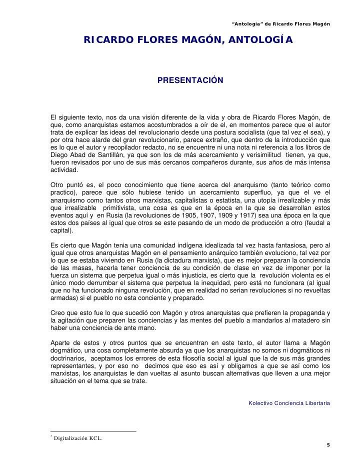 """""""Antología"""" de Ricardo Flores Magón                  RICARDO FLORES MAGÓN, ANTOLOGÍA*                                     ..."""