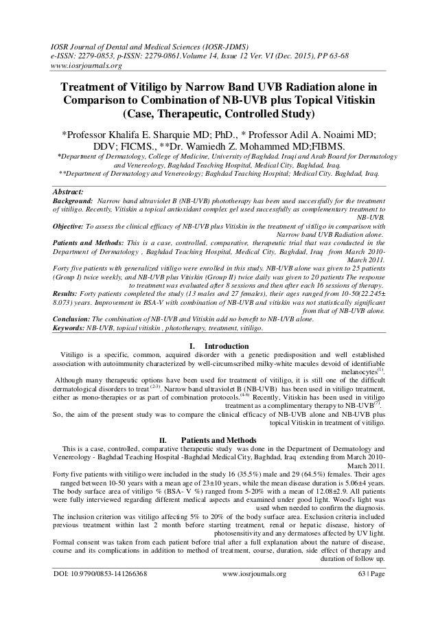 Treatment of Vitiligo by Narrow Band UVB Radiation alone in Compariso…