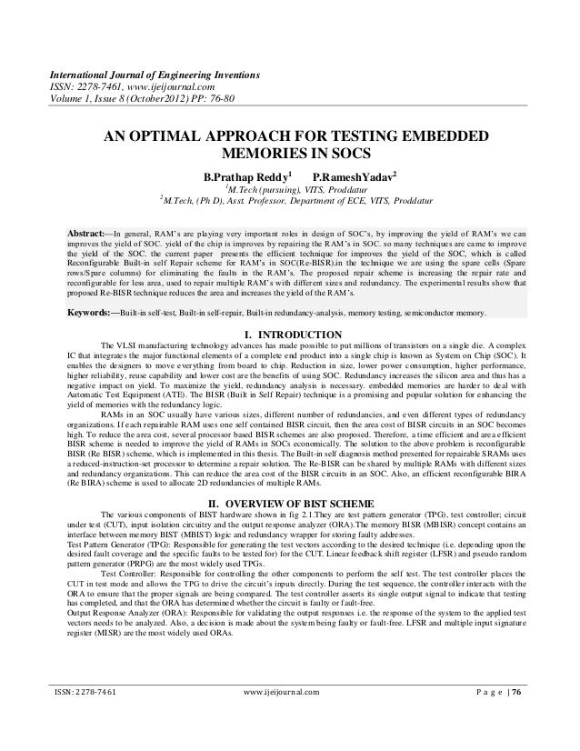 International Journal of Engineering InventionsISSN: 2278-7461, www.ijeijournal.comVolume 1, Issue 8 (October2012) PP: 76-...