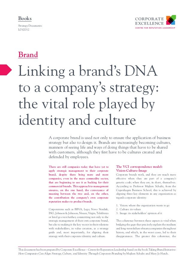 BooksStrategy DocumentsL03/2012BrandLinking a brand's DNAto a company's strategy:the vital role played byidentity and cult...