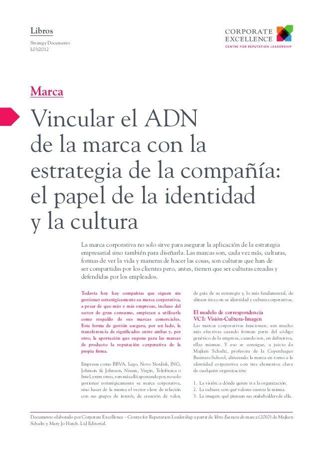 LibrosStrategy DocumentsL03/2012MarcaVincular el ADNde la marca con laestrategia de la compañía:el papel de la identidady ...