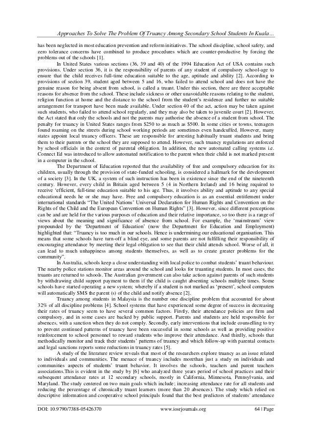 Truancy essay