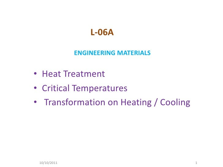 L-06A              ENGINEERING MATERIALS• Heat Treatment• Critical Temperatures• Transformation on Heating / Cooling 10/10...