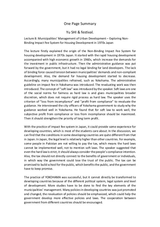 One Page Summary Yu SHI & festival. Lecture 8: Municipalities' Management of Urban Development – Exploring Non- Binding Im...