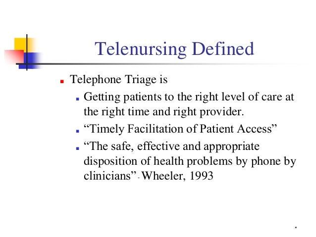 Telephone triage nurse: current role and skills Slide 2